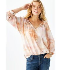 maurices womens tie dye 3/4 sleeve peasant top