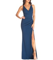 women's dress the population jordan ruched side slit gown, size x-large - blue