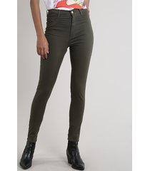 calça de sarja feminina sawary super skinny verde militar