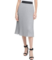 calvin klein metallic pleated skirt