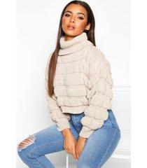 bubble knit turtle neck sweater, stone