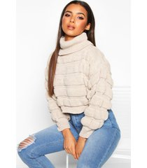 bubble knit turtle neck sweater, stone