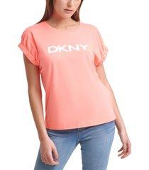 dkny logo elastic-sleeve top