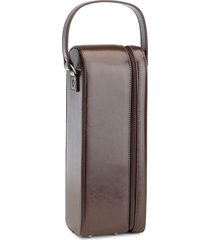 royce new york suede-lined leather wine carrying case - brown