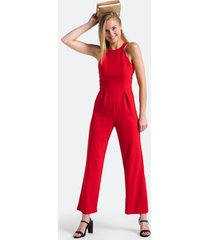 rell scallop racerback jumpsuit - red