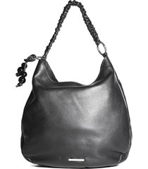 bolsa hobo feminina casual loucos e santos em couro preto