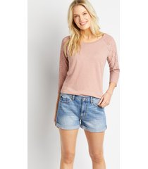 kancan™ womens classic non-stretch high rise light rolled hem 3.5in shorts blue - maurices