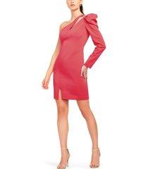aidan mattox single sleeve crepe dress