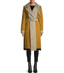 bonded cotton reversible colorblock trench coat