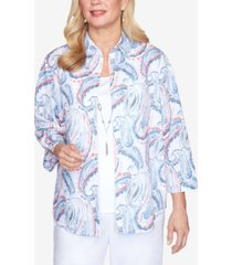 alfred dunner plus size paisley two-for-one 3/4 sleeve woven top with detachable necklace