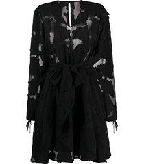 federica tosi sheer detail tie cuff dress - black