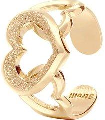anello regolabile in ottone oro rosa con cuore glitter per donna