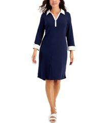 karen scott 3/4-sleeve collared dress, created for macy's