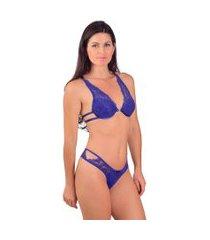 conjunto vip lingerie strappy back azul