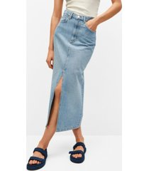 mango slit denim skirt