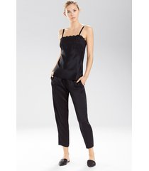 rose parfait camisole with lace pajamas, women's, black, 100% silk, size l, josie natori