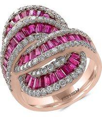 effy women's ruby royale 14k rose gold, ruby & diamond ring/size 7 - size 7