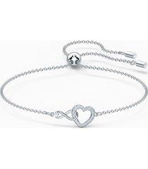 braccialetto swarovski infinity heart, bianco, placcato rodio