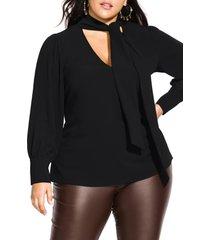 plus size women's city chic long sleeve tie neck top