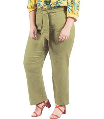 pantalon adrissa plus bolsa de papel con cinturon verde militar