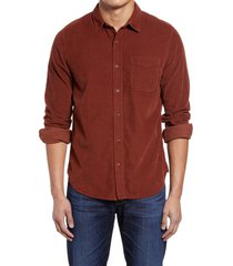 men's ag colton corduroy button-up shirt, size small - brown