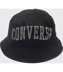 gorro plaid wordmark bucket hat  negro converse