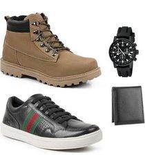 coturno masculino + sapatênis couro + relógio + carteira - masculino