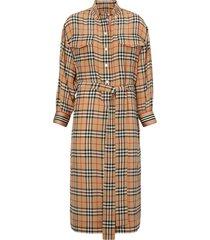 burberry vintage check silk tie-waist shirt dress - yellow