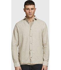 camisa jack & jones lino beige - calce regular
