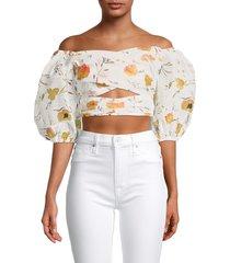 avantlook women's floral puff-sleeve top - white multi - size xs