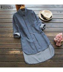 zanzea mujeres más el tamaño de manga larga túnica de dril de algodón blusa camisa con botones -azul claro