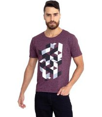 camiseta molinê geométrica vinho - masculino