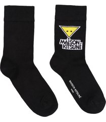 maison kitsuné logo cotton blend socks