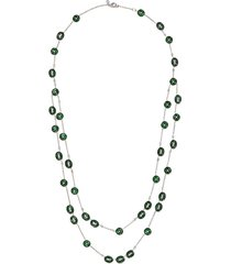 diamond jade tiered hoop station charm necklace