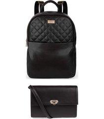 kit fashion mochila e pochete cor preto marca lefity