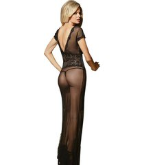 long dress sexy night gown sheer transparent dressing evening nightgown nightie