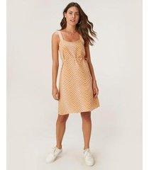 vestido evasê malwee chevron viscose feminino - feminino