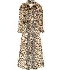 leopard print belted trench coat