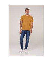 camiseta masculina regular em algodão - amarelo