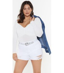 womens bust a move ruched bodysuit - cream