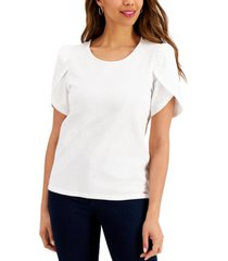 charter club petite cotton knit split-sleeve top, created for macy's