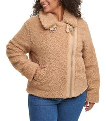 levi's trendy plus size all over sherpa asymmetrical-zip moto jacket