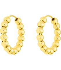 orecchini a cerchio in oro giallo e boules dorate per donna