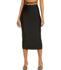 women's afrm saoirse knit pencil skirt, size large - black