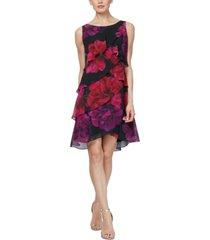 sl fashions tiered floral-print sheath dress