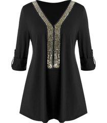 plus size sequined tunic v neck t shirt