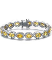 genevive cubic zirconia bracelet in silver/yellow at nordstrom