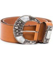 etro wide crescent buckle belt - brown