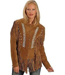 women brown western style suede leather jacket with fringes bones