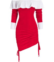 off the shoulder ruffle velour cinched dress
